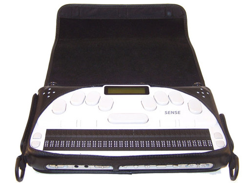 The EPI Braille Sense Plus case will not allow your unit to slip out of this case. It is a form fit custom leather case and designed to enable the Braille Sense user to easily utilize the note taker. The case comes with a comfortable shoulder strap that will secure your unit while in transit. The face of the unit is covered with a zipper pocket cover which may be opened / closed with magnet closures. The zipper pocket cover may be flipped on to the rear and secured under the unit if the user needs to utilize the note taker while walking. The large zipper pocket can store your ear buds and other items which provide security and protection. It is designed to enable the user to utilize your Braille Sense while the case is on. The case is equipped with a black plastic hooks to provide security, durability and safety. EPI continues the tradition of creating functional, durable and beautiful fitted cases. Made in the U.S.A.