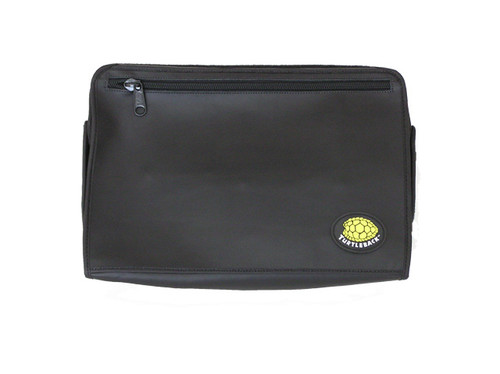 The QX 440/OMNI form fit custom leather case is designed to enable the Pac Mate user to easily utilize the note taker while the case is on the unit and allow the unit to be carried on a comfortable strap. The face of the unit is covered with a zipper pocket cover secured with heavy Velcro. The zipper pocket cover may be flipped on to the rear and secured under the unit if the user needed to utilize the note taker while walking. The zipper pocket includes inlayed credit card/ ID holders and two flash card holders which provide privacy and security for important information and data storage.  The QX 440/OMNI case is manufactured with high quality materials such as leather to provide durable outer protection, foam inlay, to provide cushion for the note taker and brush tricot with fabric interior to protect the keys and note taker cover. The case is equipped with a large heavy duty black metal zipper and black plastic hooks to provide security, durability and safety. In addition, the case is equipped with a On/Off switch cover plate which provides the user peace of mind the unit will not accidentally turn on when not in use. Finally, the case utilizes a one and a half inch adjustable heavy strap with a large comfortable shoulder strap. The strap includes an attachment to secure a GPS receiver.