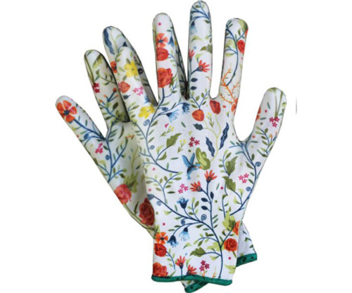 These form fitting gloves are dipped in clear nitrile on palms and fingertips for a waterproof coating. The back of the glove is uncoated and breathable so you can work in comfort. Great finger feel for pulling out small items such as weeds. Tough and stylish!