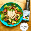 Our organic balsamic vinaigrette has only 2 grams of sugar that is natural sugar from the grapes used to make our low calorie balsamic vinaigrette.
