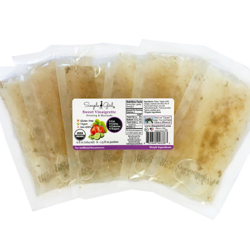Simple Girl Organic Sweet Vinaigrette salad dressing is fat-free and sugar-free and is available in single serve packets.