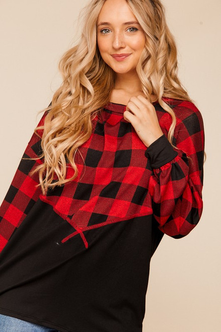 Cutest Plaid Top Black