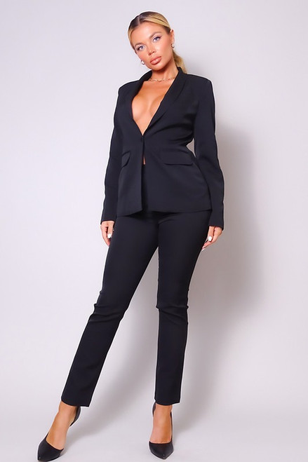 Classy As Can Be Tapered Suit Black