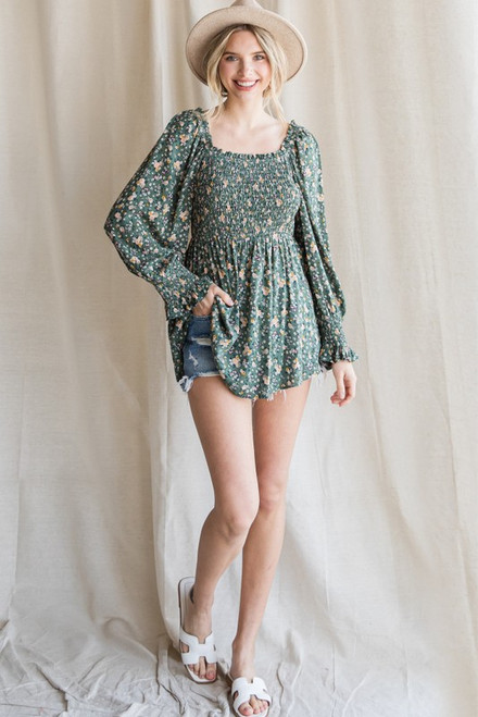 The Cutest Floral Top Sage