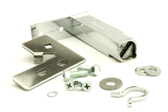 Image of all the components in the True 870837 door hinge kit by Kason (1556-570-54).