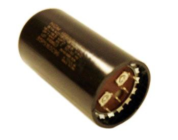 View of the specification stamp and the electrical connectors on the True 802115 start capacitor