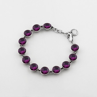 Large Amethyst Swarovski® Crystal Tennis Bracelet (B1264)