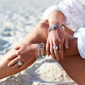 Light Azure Kierra Ring - RR449 - £60 Navaho Sterling Silver Bangle - B1614 - £75 Ocean Lovers Tennis Bracelet - B1607 19cm - £80 Shimmy Beach Bracelet - B1611 - £55
