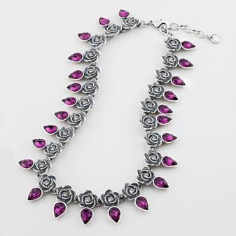 Rose and Crystal Amethyst Teardrop Necklace ( N1546 )