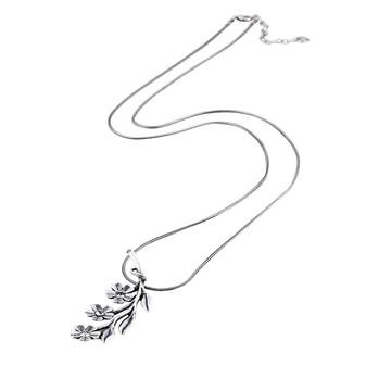 Wild Heart Flower & Leaf Snake Chain Necklace (N1570)