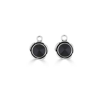 Rock Princess Jet Black Earring Charms (E4547)