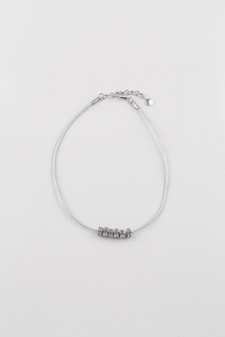 Silver Leather Necklace.  (N1696 )