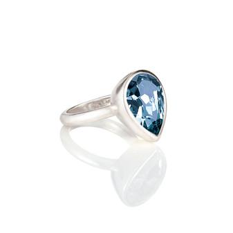 Denim Blue Teardrop Ring