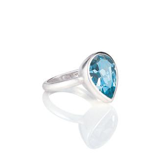 Bold Aquamarine Teardop Ring