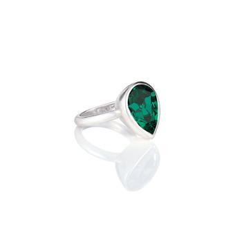 Bold Emerald Teardrop Ring