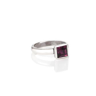 Petite Square Amethyst  Ring