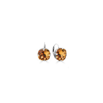 Honey Drop Earrings - Burnished Silver / Swarovski Crystal Earrings / Cushion Cut Crystal / Crystal Lever back Fastening  / Everyday Jewellery