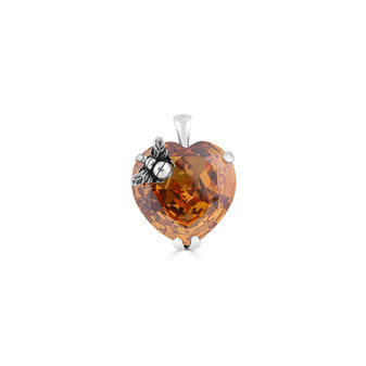 Honey  Bumble Bee Heart Crystal Pendant - Burnished Silver / Swarovski Crystal / Handmade / Gifts For Her / Bee  Lovers Jewellery / Gift Ideas