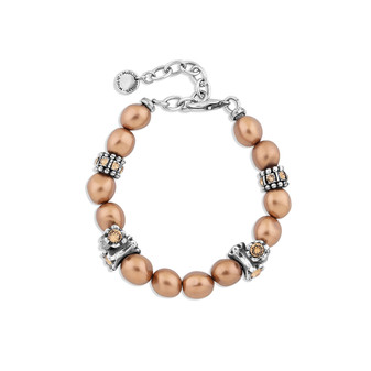 Willow Bronze Pearl Bracelet - Burnished Silver / Adjustable Bracelet / Pearl Jewellery / Swarovski Crystal / Bronze Pearls / Elegant / Gifts For Her