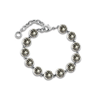 Black Diamond A-list Bracelet - Burnished Silver / Adjustable Bracelet / Swarovski Crystal / Tennis Bracelet / Elegant / Gift Ideas
