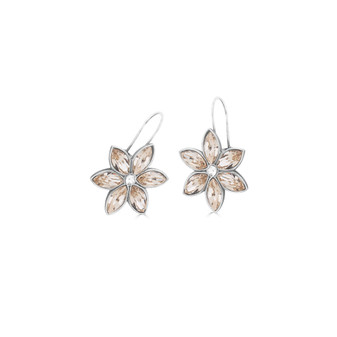 Forget-Me-Not Silk Drop Earrings - Burnished Silver / Flower Drop Earrings / Swarovski Crystal /  Floral Jewellery / Gifts For Her