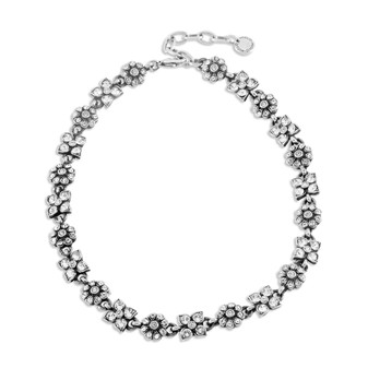 Enchanted Garden Cluster Necklace - Burnished Silver / Swarovski Crystal / Flower Necklace / Handmade / Gifts For Her / Floral Jewellery