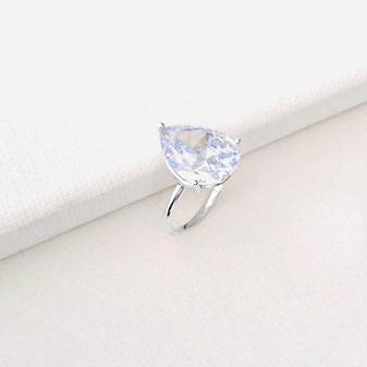 Pear Cubic Zirconia Stackable Ring Sterling Silver 925