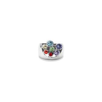 Sterling Silver Rainbow Bold True Gem Ring - Sterling Silver 925