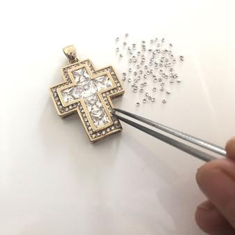 18ct Gold-plated Cubic Zirconia Cross Pendant