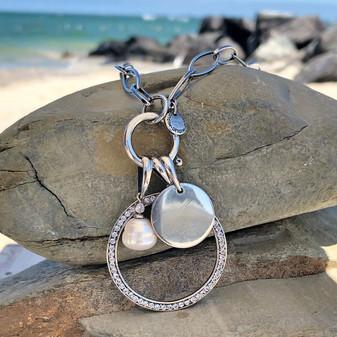Silver Waves Necklace - N2103 45cm - £30 Sea Mist Pearl Drop Pendant - EN1888 - £60 Circle Wave Pendant - EN1867 - £45