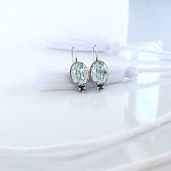 Seaside Light Azure Oval Drop Earrings