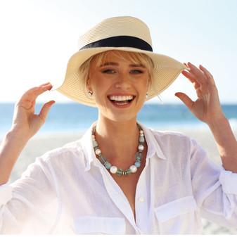 Petite Summer Blue Light Azure Huggie Drop Earrings - E4886 - £35