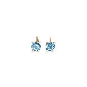 Summer Blue Aquamarine Gold Drop Earrings