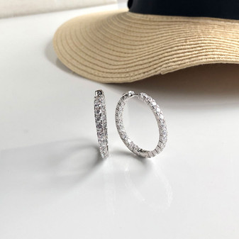 Summer Sparkles Sterling Silver Hoop Earrings
