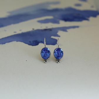 Sapphire Cornflower Blue Oval Drop Earrings