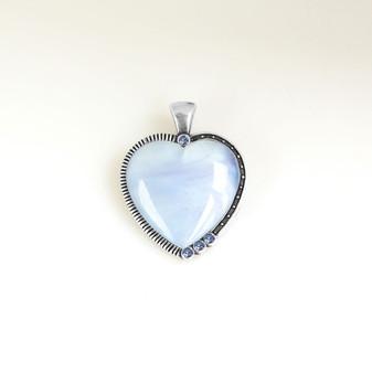 Air Blue Opal Heart Pendant