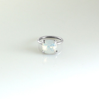 White Opal Claw-set Sterling Silver Ring