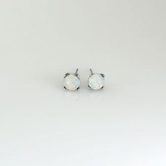 White Opal Stud Earrings