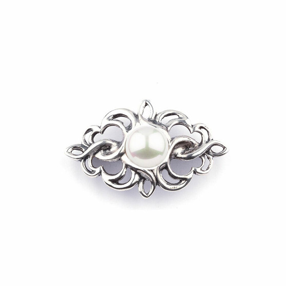 Ornate White Shell Pearl in Burnished Silver Filigree Pin (PP222)