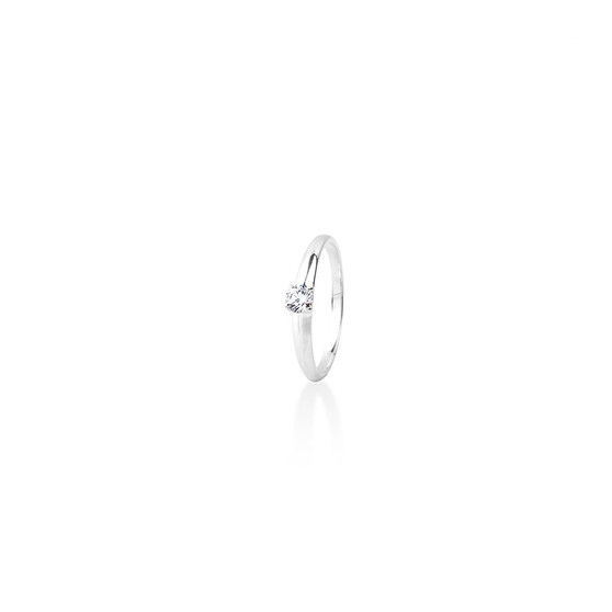 Petite (April) Solitaire Ring - Sterling Silver 925