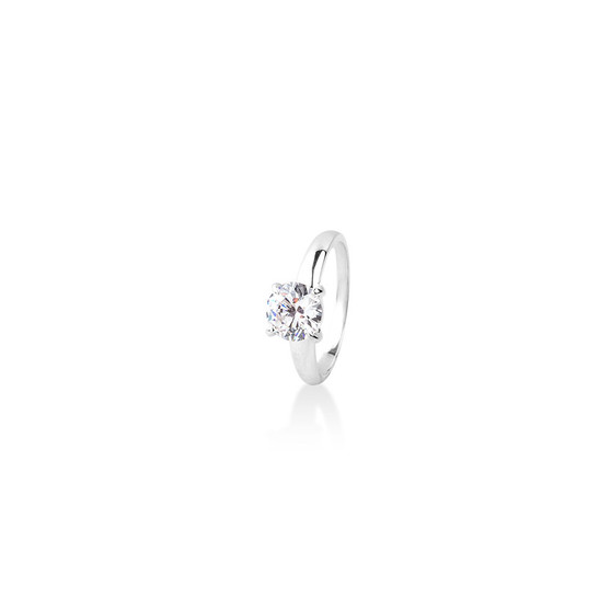Bold Solitaire Ring ( April)  - Sterling Silver 925