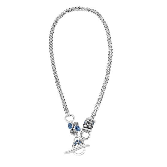 Denim Lily Rose Floral Necklace