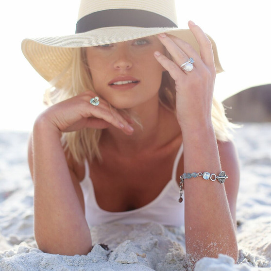 Wanderlust Bracelet - B1610 - £45 Nautica Aquamarine Sterling Silver Ring - RR437 - £75 Shimmy  Beach Sterling Silver Ring - RR438 - £115