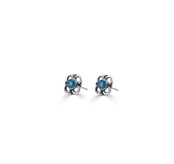 Mary Jane Blue Zircon Stud Earrings (E4623)
