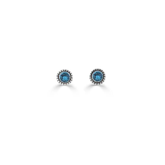 Blue Zircon Expression Stud Earrings ( E4717 )