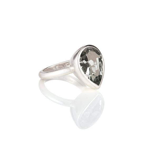 Bold Black Diamond Teardrop Ring