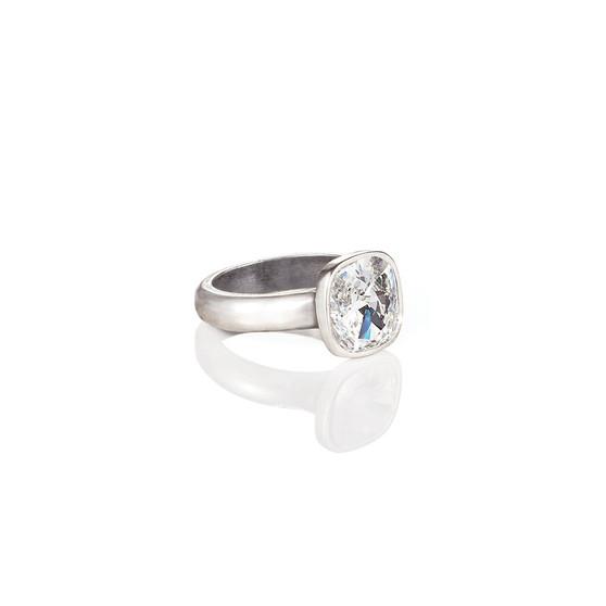 Cushion-Cut  Crystal Ring