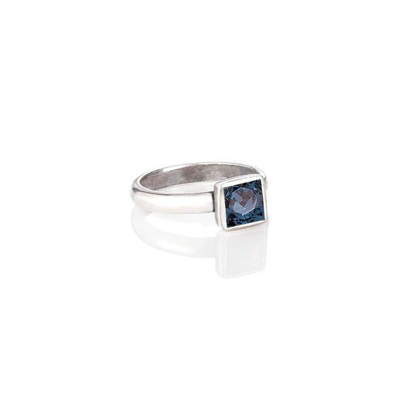 Petite Square Denim Blue Ring