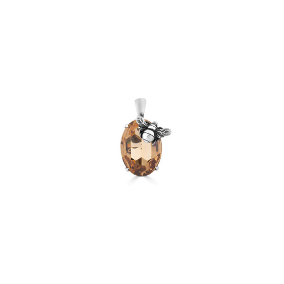 Light Colorado Topaz Bumble Bee Oval Crystal Pendant - Burnished Silver / Swarovski Crystal / Handmade / Gifts For Her / Bee  Lovers Jewellery / Gift Ideas