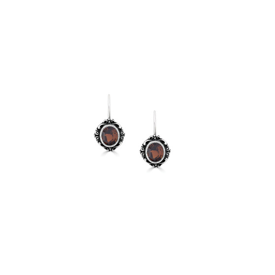 Smoked Topaz Taylor Drop Earrings - Burnished Silver / Swarovski Crystal / Gifts For Her / Floral Jewellery / Gift Ideas / Everyday Jewellery